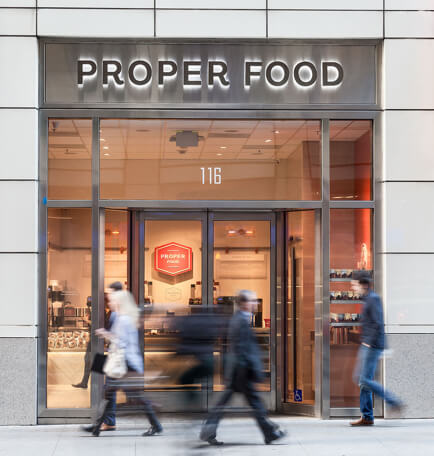 Proper Food entrance on 116 Montgomery Street San Francisco